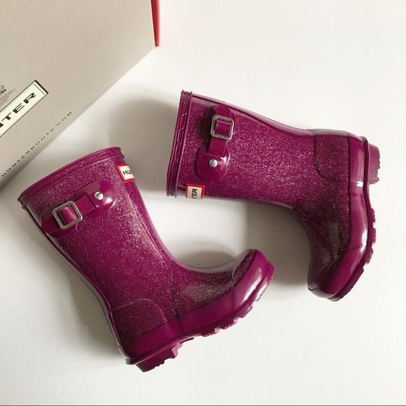 purple glitter hunter boots
